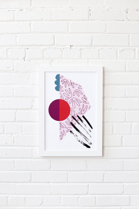 Meeting Point-02 //  LIMITED EDITION // 12x18, Minimalist embroidered poster, mid-century inspiration, geometric shapes, orange, purple