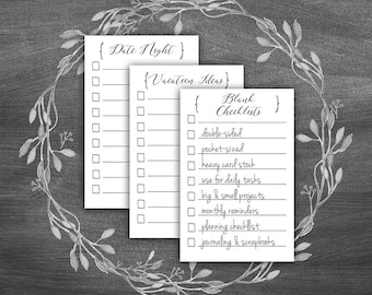 Daily Checklist    Blank To Do List   Project Checklist   Daily Planner Refill Cards   Things To Do   Lined Cards   Journaling Cards