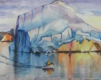 Original Watercolor Painting Iceberg Watercolor Painting   Home Decor Landscape Watercolor paintings Wall Decor Art Painting Watercolor