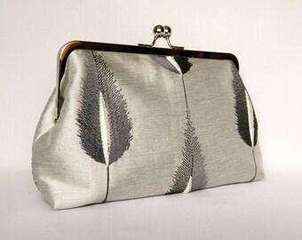 Silver Clutch, Clutch Purse, Silver Silk Embroidered Feather Clutch, Grey Wedding Clutch, Bridal Clutch, Evening Clutch
