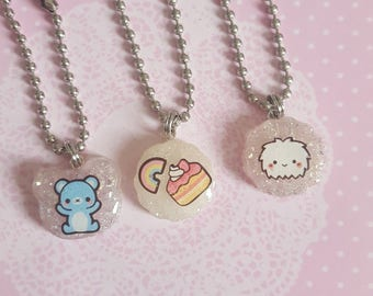 Tiny Resin Charms with Kawaii Stickers and Ball Chain