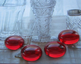 Czech Ruby Smooth Domed Top Glass Cabs 18x13mm 4Pcs.