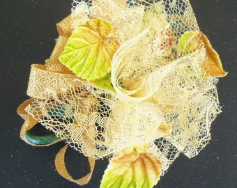Vintage Corsage / Velvet Leaves / Gold and Green / Mother's Day