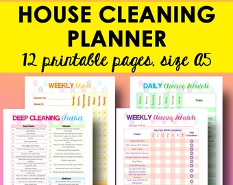 Cleaning Planner Printable, Cleaning Schedule, Home Organizer, Household Planner Printable Cleaning Chart, A5 Instant Download