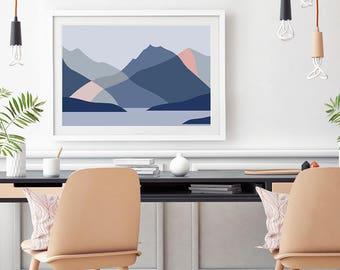 Mt Earnslaw, Glenorchy, Lake Wakatipu, near Queenstown, New Zealand Modern Abstract Mountain Art Print, Wall Art Poster