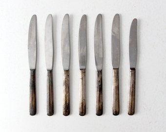 vintage silver plate knife set, collection 7 dinner knives