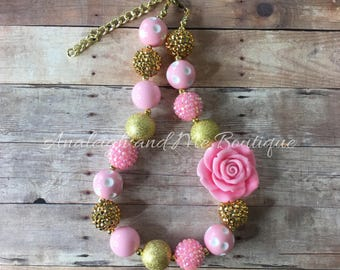 Toddler Pink and Gold Chunky Necklace, Pinkand Gold Baby Necklace, Pink and Gold Necklace, Pink and Gold Baby Necklace, Pink Gold