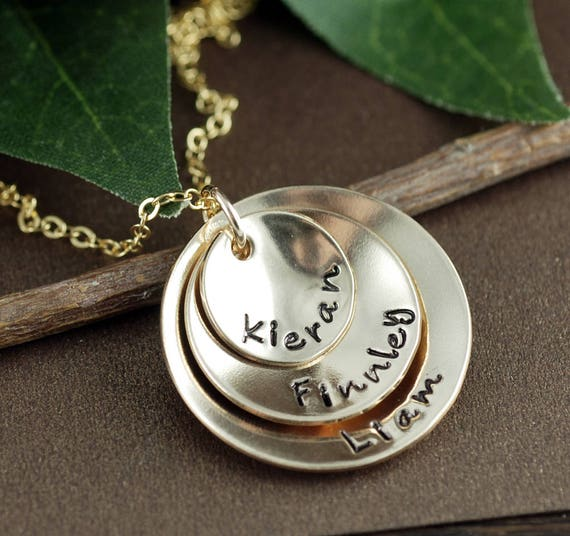 Personalized Gold Mom Necklace, 14kt Gold Filled Necklace. Hand Stamped Mothers Necklace, Gift for Mom, Personalized Name Necklace