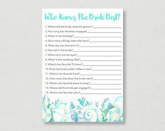 Nautical Beach Who Knows The Bride Best Game / Beach Bridal Shower / Watercolor Seashells / Know The Bride Game / INSTANT DOWNLOAD B103