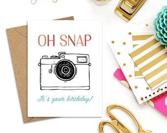 Oh Snap! Birthday Card with White or Kraft Envelope, A2 Single Card or Boxed Set of 10