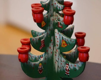 Vintage Wooden Christmas Tree Miniature Candle Holder/ Hand Painted/ Made in Taiwan