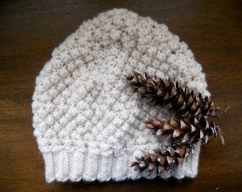 Knit beanie hat | Textured knit hat | Winter women's hat | White knit beanie | Acrylic hand knit | Gift accessories
