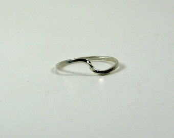Stacking Ring Sterling Silver, Curved Wave Stacker, Hammered Forged, Thin Delicate, Stacking Jewellery
