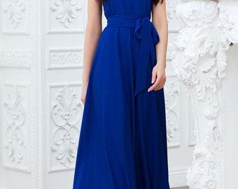Cobalt blue maxi dress Long blue dress Dress with  belt on  floor Evening Dress Royal blue Wedding dress bridesmaid dress