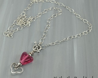 Sterling Silver Necklace -Sterling Silver Lampwork Heart Chain Necklace - KTBL