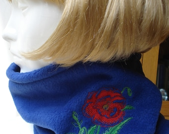 Royal Blue Fleece Cowls, Scarves with Embroidered Poppy or Cat Face