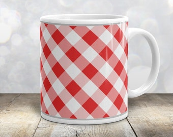 Country Red Gingham Mug - Diagonal White Red Gingham Pattern Rustic Country Kitchen Mug - 11oz or 15oz