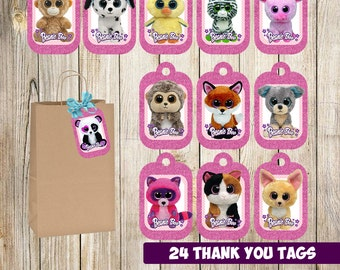 24 Beanie Boo Thank you Tags instant download, Printable Beanie Boo Thank you tags, Party Gift Favor Label Tag
