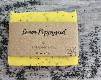 Lemon PoppySeed Soap with Shea Butter - Lemongrass Homemade Soap - Natural Handmade Soap - Lemongrass Essential Oil Soap - Cold Process Soap