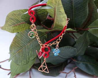 L.O.Z.® Wise Ear Bend with Hanging Spiritual Stones and Triforce in Red