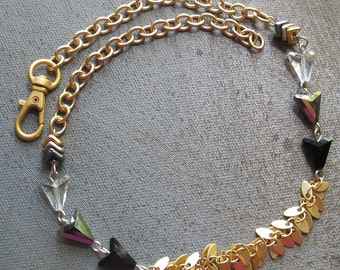 Arrow Swarovski Crystal Necklace, Satin Gold Dangle Chain Necklace, Little Black Dress Jewelry