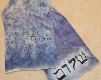 Scripture Scarf with Hebrew, Psalm 122:6