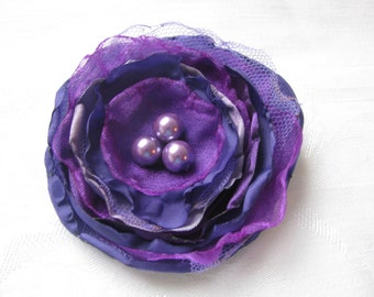 Shades of Purple Floral Brooch/Corsage with Pearl Bead Centre