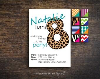 8th Birthday Invitation | Kids Birthday | Printable Digital File