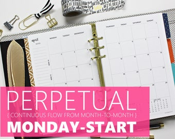 """Printed Monthly Inserts PERPETUAL, MONDAY-START: 12-Months & 2 Annual Calendars, MO2P (Half-Letter Size 5.5""""x8.5"""" - fits into A5 planners)"""