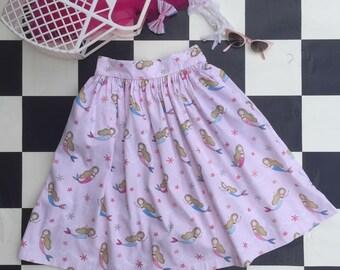 Mermaid novelty rockabilly pinup vintage style skirt