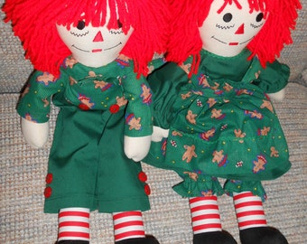 20 inch Christmas Raggedy Ann and Andy Dolls