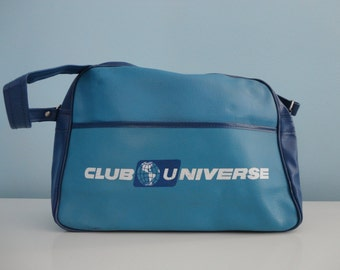 VINTAGE 1960s club universe - unitours MESSENGER BAG - two tone blue - vintage travel - vintage luggage