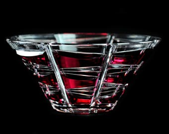 Red Bohemian Crystal  Cut to Clear Bowl