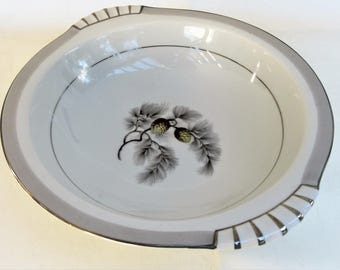 Vintage Kent China | Vegetable Bowl | Serving Bowl | Large Round Bowl | Silver Pine | Pinecone China
