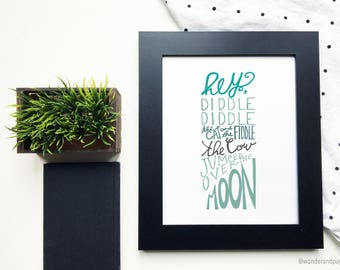 Hey Diddle Diddle Wall Print // Nursery Wall Art, Nursery Rhyme art, nursery wall decor, nurser wall print, digital print, nursery decor
