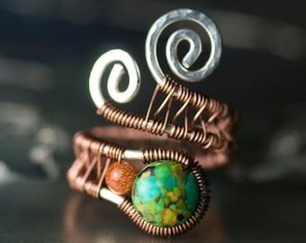 "Turquoise Ring Argentium Silver Antiqued Copper Adjustable Green Mosaic Turquoise Glitter Goldstone Desert - ""Tequila Sunrise"""