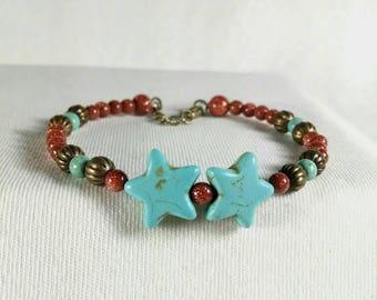 Bracelet étoile turquoise, Bracelet manchette Minimal, manchette fil mémoire, Goldstone marron, Bracelet délicat, magnésite, Bronze Antique