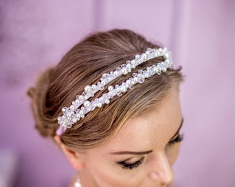 Bridal Headpiece Wedding Hair Accessory for Woman Wedding Tiara Crystal Crown Tiaras Bridal White Headband Pearl Wedding White