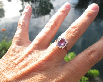 Amethyst, CZ and Sterling Silver Ring Size 8