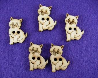 Buttons, wood, cat, 5 pieces, 3x2, 5 cm (15-0013A)