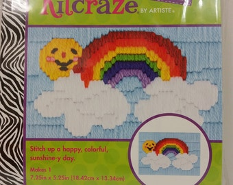 """Artiste Kitcraze Mini Long Stitch """"Rainbow"""" Picture Kit # HL249773for Kids ages 8+, 7.25in x 5.25in (18.42cm x 13.34cm)"""