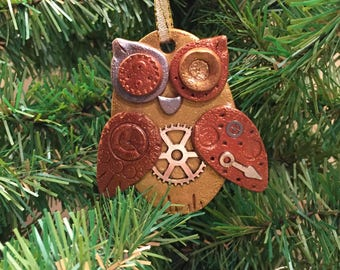 Steampunk Owl Holiday Ornament - Industrial Style Bird Animal Mixed Media Decor style 16