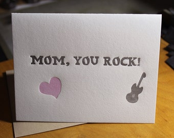 Mom, You Rock Letterpress Card ~ Handmade ~ FREE shipping within the US ~