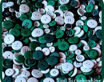 SET OF 45 BUTTONS PLASTIC GREEN SCRAPBOOKING SCRAP SEWING