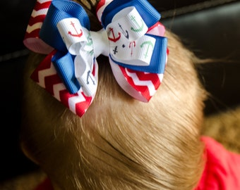 Layered Patriotic Red, White, and Blue Bow
