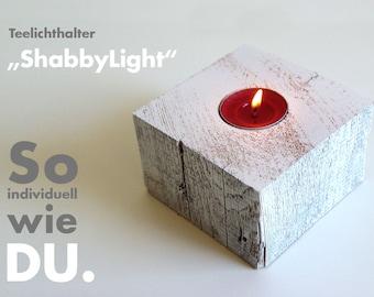 "Decorative style - tea light holder ""Shabbylight""-eckig-"