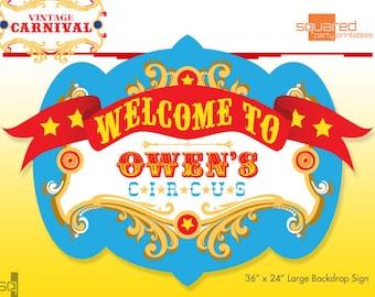 Zirkus Geburtstag - Partei druckbare Zeichen - Kulisse DIY Print - Primärfarben - Jahrgang Karneval Partei Zeichen