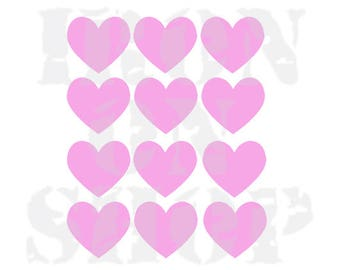 Heart Iron-on Transfers, 4 size options, 23 color options
