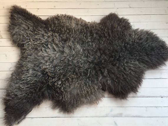 High quality sheepskin rug beautiful Norwegian pelt supersoft sheep skin curly grey brown throw 18011