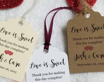 "Personalized Favor Tags 2.5L""x1.8w"", Wedding tags, Thank You tags, Favor tags, Gift tags, Bridal Shower Favor Tags, love is sweet"